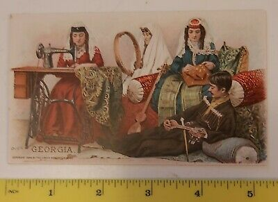 """Rare Vintage """"Georgia"""" Trading Card Issued By Singer Sewing Machine""""-Excellent"""