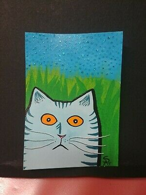 Original OOAK Painting ACEO ATC 2.5 x 3.5 Signed Striped Blue Cat