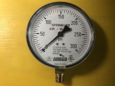 """Argco 4"""" Air/Water Sprinkler Gauge For Fire Protection System USA"""
