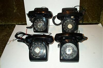 4 Vintage ITT and Automatic Electric Black Telephones Rotary Retro Antique!