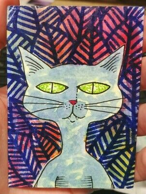 Original Painted ACEO Art Card 2.5 x 3.5Blue Green Cat Colorful Leaf Background