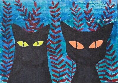 OOAK Original Painted ACEO Art Card 2.5 x 3.5 Two Black Cats Bright Eyes Ferns