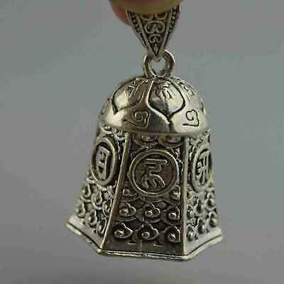 Collectable Handwork Decor Old Miao Silver Carve Flower Rare Lucky Bell Pendant