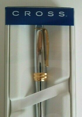 Cross Bailey silver/gold Ballpoint Pen - Medalist Chrome Gold Trim - NEW in box