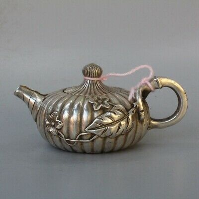 Ancient Collectable Handwork Old Miao Silver Carve Pumpkin Shape Tibet Tea Pots