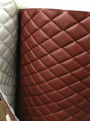 """Vinyl Upholstery terracotta diamond Quilted fabric with 3/8"""" Foam Backing BTY"""
