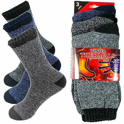 3-12 Pairs Mens Winter Thermal Heated Warm Socks Heavy Duty Boots Sox Size 10-13