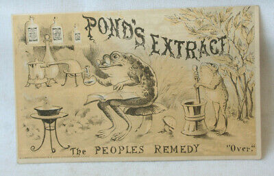Advertising Trade Card Frog Pond's Extract Peoples Remedy Chemist Druggist Quack