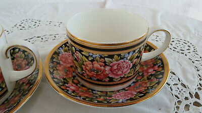 Wedgwood Clio, farbiges Volldesign, Bone China, 2 Tassen, 2 Untertassen