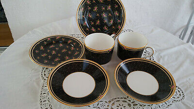 Wedgwood Clio, Volldesign, 2 Bone China Trios, je 2 Tassen, Untertassen,Teller