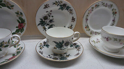 Wedgwood Anemone, Bone China Trio, Tasse Untertasse Teller W4158