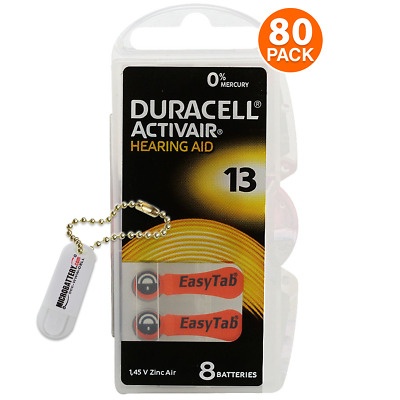 Duracell Size 13 Hearing Aid Battery, 10 x 8 Packs Closeout Sale (80 Batteries)