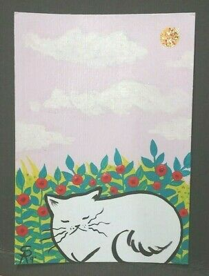 Original OOAK Painting ACEO ATC 2.5 x 3.5 Signed White Cat in Rose Garden Sky