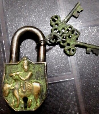 Krishna with Cow Vintage Antique Finish Handmade Solid Brass Padlock with Keys
