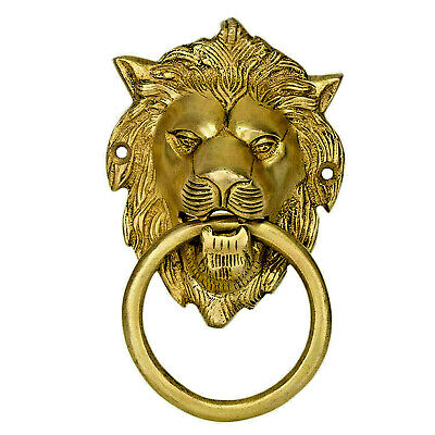 Lion Head Shape Vintage Antique Style Handmade Brass Door Knocker Home Decor B01