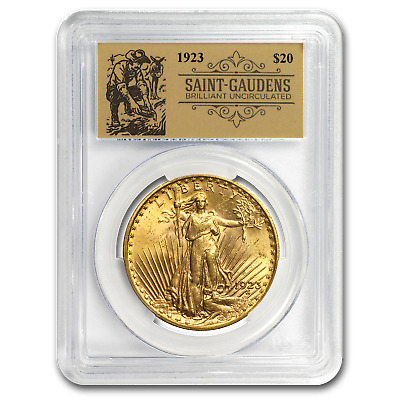 1923 $20 Saint-Gaudens Double Eagle BU PCGS (Prospector Label)