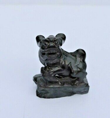 Antique Chinese Master Hand Carved Black Stone Foo Dog, Lion Figurine