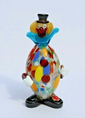 Vintage Murano Hand Made Italian Colorful Glass Clown Figurine Original Sticker
