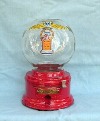 Early 1c Ford Glass Globe Counter Top  Gumball Machine with fired on Decal