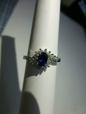 Blue Sapphire with White Gems 925 Solid Sterling Silver Ring Jewelry Sz 6