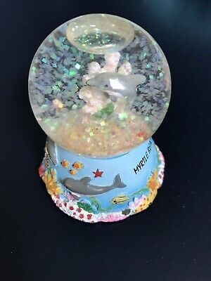 """Myrtle Beach Souvenir  Dolphin Snowglobe 3"""" Tall-Displayed In Case Only-Euc"""