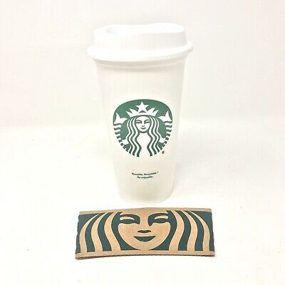 Starbucks Reusable Plastic White Grande Coffee Cup 16oz
