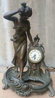 """Antique French Spelter Clock Nymph Woman Father Time 24"""" XL statue Victorian era"""