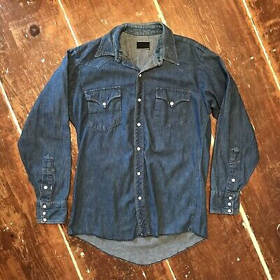 Vintage Denim Western Cowboy Shirt 60s Mens Medium Horseshoe & Star Snaps