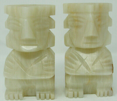 """Vintage Aztec Mayan Tiki Heads Carved Marble Stone Bookends Set of 2 6.5"""""""
