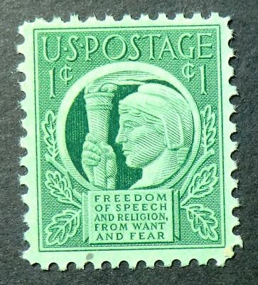 908 MNH 1943 1c Four Freedoms FDR freedom from want fear of speech religion