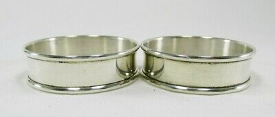 Vintage Gorham Sterling Silver Pair Napkin Rings NoMono Rolled Edge # 6290