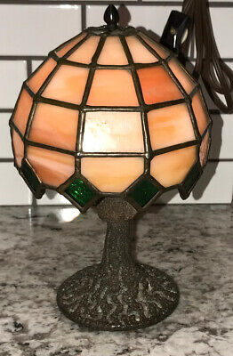 "Antique Small Leaded Stained Glass Lamp 8"" Accent Lamp SIGNED By ARTIST 1972 W.C"