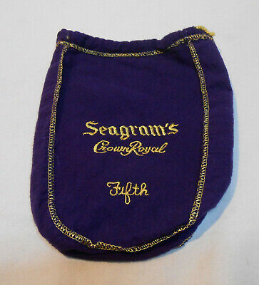 Seagram's Crown Royal Purple Felt 750ml Bag Gold Stitching Drawstring Fifth
