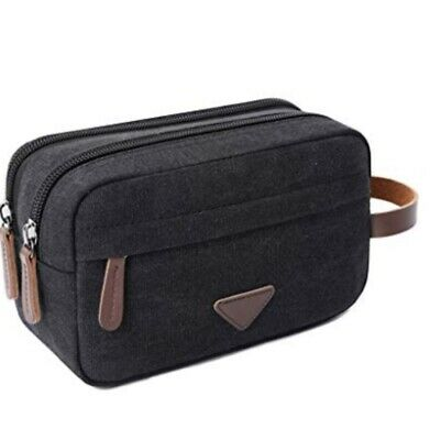 Mens Travel Toiletry Bag Canvas Leather with Double Compartments