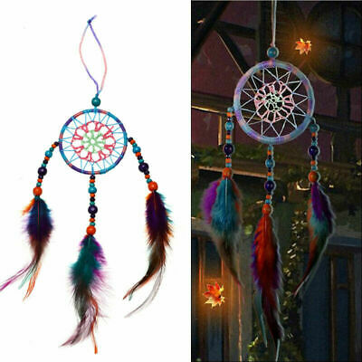 Colorful Handmade Dream Catcher Net With Feathers Beads Hanging Home Car Decor