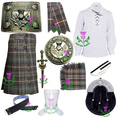 Men's Scottish Kilt Outfit Set Weathered Mackenzie Various Pin Brooch Accessorie