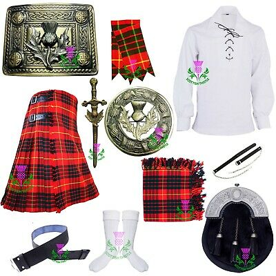 Scottish Kilt Outfit Set Cameron Red Tartan Wool Various Pin Brooch Accessories