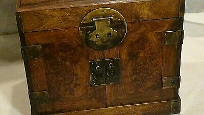 Antique Chinese Rosewood Carved 5 Drawers Storage Or Writing Cabinet