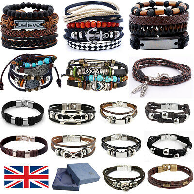 Mens Women Surfer Real Leather Bracelet Wristband Bangle Punk Beaded Wrap Gifts