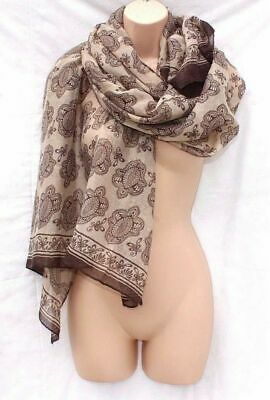 "Unisex Vintage Brown Viscose Light Weight Large Paisley Print Wrap Scarf 71""X39"""