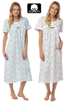 Ladies Abstract Spot 100% Cotton Short Sleeve Nightdress By Marlon Size: 8 - 26