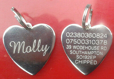 Engraved Pet Tag ID Disc Collar Tags Cat Dog Puppy Metal Silver Heart FREEPOST