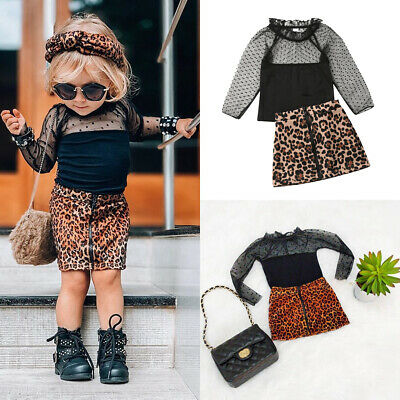 Fashion Kids Baby Girls Autumn Clothes Long Sleeve Lace Top Leopard Skirt Outfit