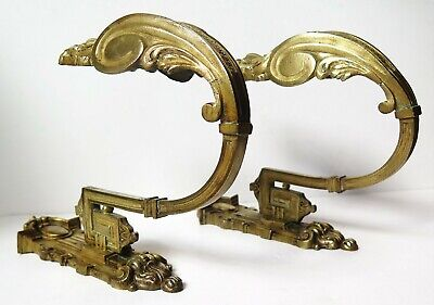 A Pair  Of Large Antique Classical Brass Curtain Tie Backs