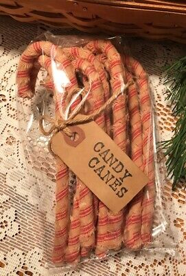 12 Primitive STRIPED HOMESPUN Fabric Candy Canes Christmas Farmhouse Decor
