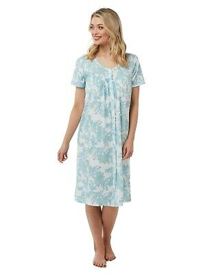 Ladies Floral Jersey Cotton Nightdress Short Sleeved/Button Through By Marlon
