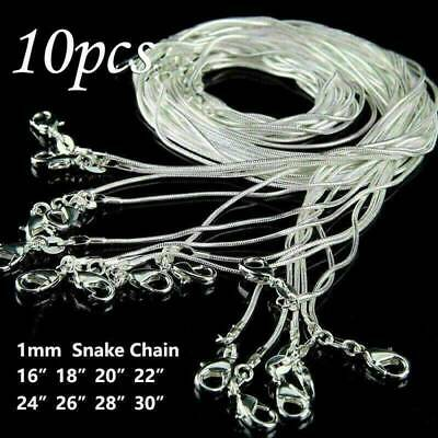 "Wholesale 925 Sterling Silver Lots 10pcs 1mm Snake Chains 16""-30"" Necklace Gifts"