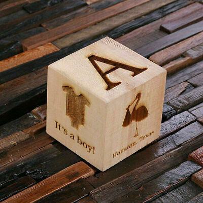 Personalised Baby Block Wooden Cube 3 inch - Lovely Commemorative Newborn Gift