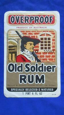 1960's Circa Overproof Old Soldier Rum Bottled by Dalgety Trading Co. Pty. Ltd.