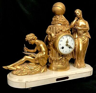 Antique French Figural Mantel Clock With Bronzed / Gilt Spelter Figure On Marble